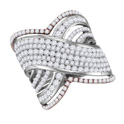 2.48 CTW Diamond Cocktail Ring 10KT Two-tone Gold - REF-206N9F