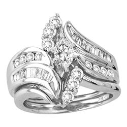 1.49 CTW Marquise Diamond Bridal Engagement Ring 14KT White Gold - REF-239H8M