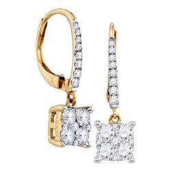 0.85 CTW Cluster Diamond Square-shape Dangle Hoop Earrings 18KT Yellow Gold - REF-149W9K