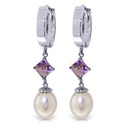 Genuine 9.5 ctw Pearl & Amethyst Earrings Jewelry 14KT White Gold - REF-53M2T