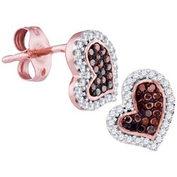 0.17 CTW Red Color Diamond Heart Stud Screwback Earrings 10KT Rose Gold - REF-19Y4X