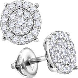 0.96 CTW Diamond Cluster Earrings 10KT White Gold - REF-59K9W
