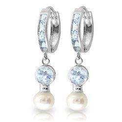 Genuine 4.3 ctw Aquamarine & Pearl Earrings Jewelry 14KT White Gold - REF-52X9M