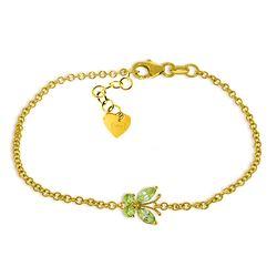 Genuine 0.60 ctw Peridot Bracelet Jewelry 14KT Yellow Gold - REF-41P6H