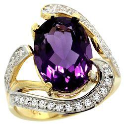Natural 6.22 ctw amethyst & Diamond Engagement Ring 14K Yellow Gold - REF-134F9N