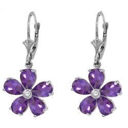Genuine 4.43 ctw Amethyst & Diamond Earrings Jewelry 14KT White Gold - REF-49Y8F