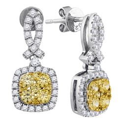 1.31 CTW Yellow Diamond Square Cluster Dangle Earrings 14KT White Gold - REF-127K4W