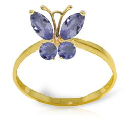 Genuine 0.60 ctw Tanzanite Ring Jewelry 14KT Yellow Gold - REF-33Z8N