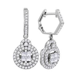 0.98 CTW Princess Diamond Double Circle Dangle Earrings 14KT White Gold - REF-116M3H