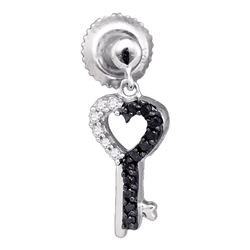 0.15 CTW Black Color Diamond Key Heart Dangle Earrings 10KT White Gold - REF-14F9N