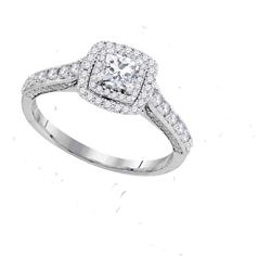 1 CTW Princess Diamond Solitaire Bridal Engagement Ring 14KT White Gold - REF-127F4N