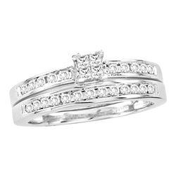 0.50 CTW Princess Diamond Bridal Engagement Ring 14KT White Gold - REF-71W9K