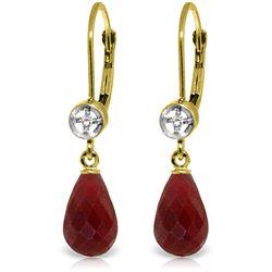 Genuine 6.63 ctw Ruby & Diamond Earrings Jewelry 14KT Yellow Gold - REF-29T7A