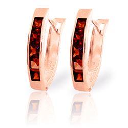 Genuine 1.30 ctw Garnet Earrings Jewelry 14KT Rose Gold - REF-25Z3N