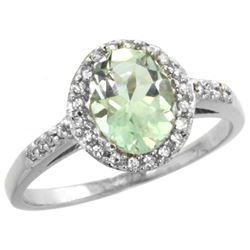 Natural 1.3 ctw Green-amethyst & Diamond Engagement Ring 10K White Gold - REF-25K9R