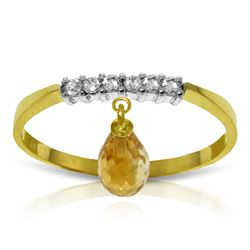 Genuine 1.45 ctw Citrine & Diamond Ring Jewelry 14KT Yellow Gold - REF-34T3A