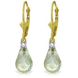 Genuine 4.6 ctw Green Amethyst & Diamond Earrings Jewelry 14KT Yellow Gold - REF-30X2M