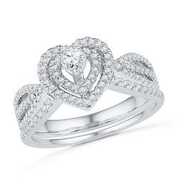 0.63 CTW Diamond Heart Bridal Engagement Ring 10KT White Gold - REF-52W4K