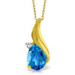 Genuine 2.53 ctw Blue Topaz & Diamond Necklace Jewelry 14KT Yellow Gold - REF-36F2Z