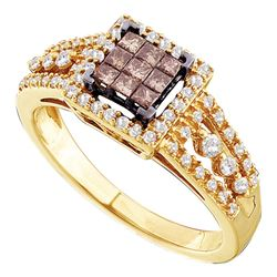 0.50 CTW Princess Cognac-brown Color Diamond Ring 14KT Yellow Gold - REF-57M2H