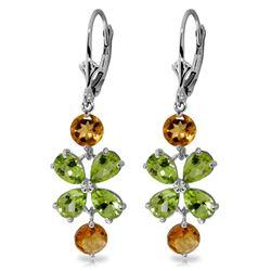 Genuine 5.32 ctw Peridot & Citrine Earrings Jewelry 14KT White Gold - REF-50Y3F