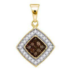 0.25 CTW Cognac-brown Color Diamond Square Pendant 10KT Yellow Gold - REF-13Y4X