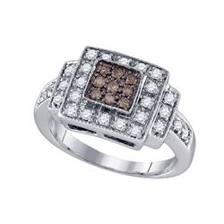 0.50 CTW Cognac-brown Color Diamond Square Cluster Ring 10KT White Gold - REF-46W4K