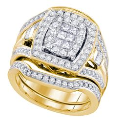 1.51 CTW Diamond Cluster Bridal Engagement Ring 14KT Yellow Gold - REF-217M4H