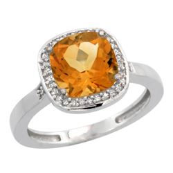 Natural 3.94 ctw Citrine & Diamond Engagement Ring 14K White Gold - REF-38W3K