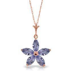 Genuine 1.40 ctw Tanzanite Necklace Jewelry 14KT Rose Gold - REF-37F6Z