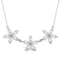 Genuine 4.75 ctw White Topaz Necklace Jewelry 14KT White Gold - REF-61M2T