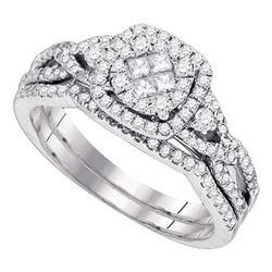 0.73 CTW Princess Diamond Soleil Cluster Bridal Engagement Ring 14KT White Gold - REF-89N9F