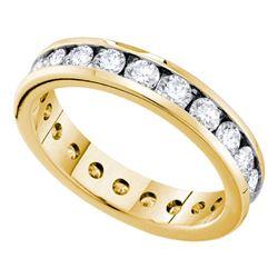 2 CTW Diamond Eternity Wedding Ring 14KT Yellow Gold - REF-240N2F