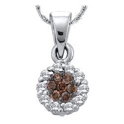 0.50 CTW Cognac-brown Color Diamond Flower Circle Pendant 14k White Gold - REF-32F9N