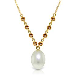 Genuine 5 ctw Pearl & Citrine Necklace Jewelry 14KT Yellow Gold - REF-25R4P