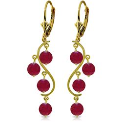 Genuine 4 ctw Ruby Earrings Jewelry 14KT Yellow Gold - REF-63H8X