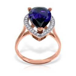 Genuine 5.26 ctw Sapphire & Diamond Ring Jewelry 14KT Rose Gold - REF-102W6Y