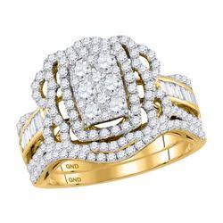 1.41 CTW Diamond Bridal Wedding Engagement Ring 14KT Yellow Gold - REF-142N4F