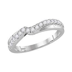 0.33 CTW Diamond Contour Enhancer Wedding Ring 14KT White Gold - REF-44W9K