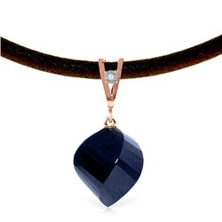 Genuine 15.26 ctw Sapphire & Diamond Necklace Jewelry 14KT Rose Gold - REF-49N8R