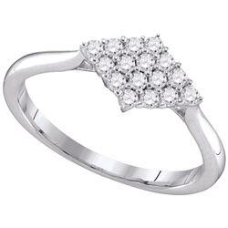 0.31 CTW Diamond Cluster Ring 10KT White Gold - REF-28H4M