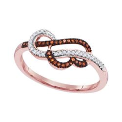 0.13 CTW Red Color Diamond Heart Strand Ring 10KT Rose Gold - REF-16Y4X