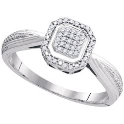 0.10 CTW Diamond Square Cluster Tapered Shank Ring 10KT White Gold - REF-18W2K