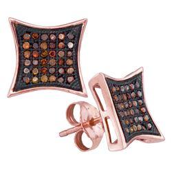 0.25 CTW Red Color Diamond Kite Cluster Earrings 10KT Rose Gold - REF-26N9F