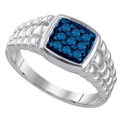 0.25 CTW Mens Masculine Blue-colored Diamond Square-shape Ring 10KT White Gold - REF-44N9F