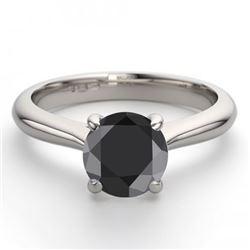 14K White Gold 0.91 ctw Black Diamond Solitaire Ring - REF-53R2M-WJ13226