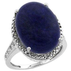 Natural 9.49 ctw Lapis & Diamond Engagement Ring 10K White Gold - REF-42M9H