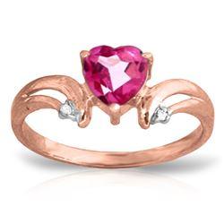 Genuine 0.96 ctw Pink Topaz & Diamond Ring Jewelry 14KT Rose Gold - REF-42F2Z