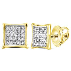 0.15 CTW Diamond Square Kite Cluster Earrings 10KT Yellow Gold - REF-8W9K