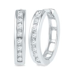 0.20 CTW Diamond Hoop Earrings 10KT White Gold - REF-24M2H